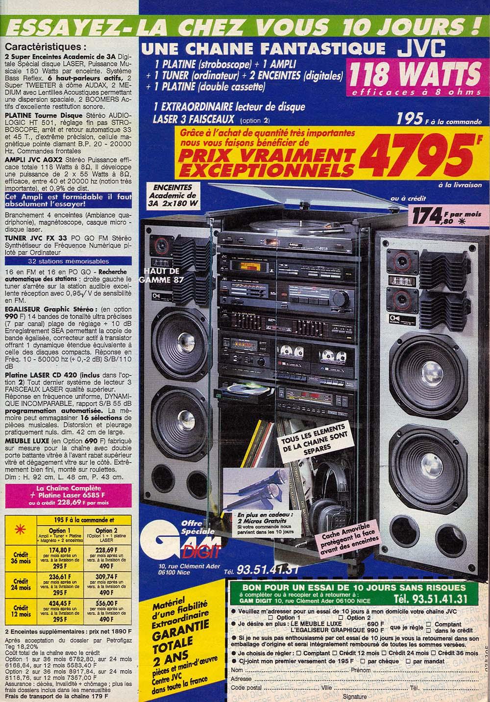 Pub JVC chaîne hifi (1986)